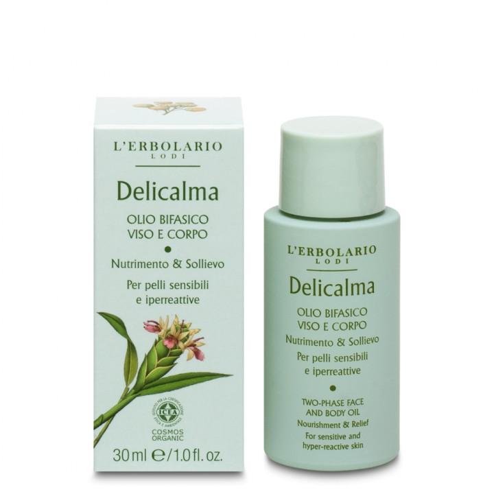 L'Erbolario Delicalma dwufazowy olejek do pielęgnacji twarzy i ciała,30 ml