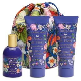 L'Erbolario Dance of Flowers beauty bag trio - pianka do kąpieli, perfumowany krem do ciała, woda perfumowana