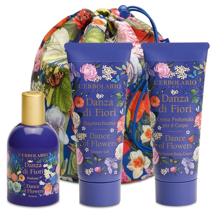 L'Erbolario Danza di Fiori Beauty Bag TRIO - pianka do kąpieli, perfumowany krem do ciała, woda perfumowana