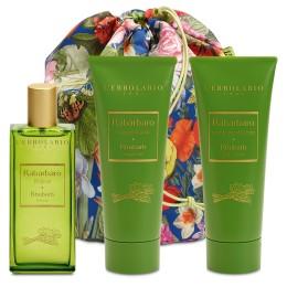 L'Erbolario Rabarbar beauty bag trio - woda perfumowana, pianka do kąpieli, perfumowany krem do ciała