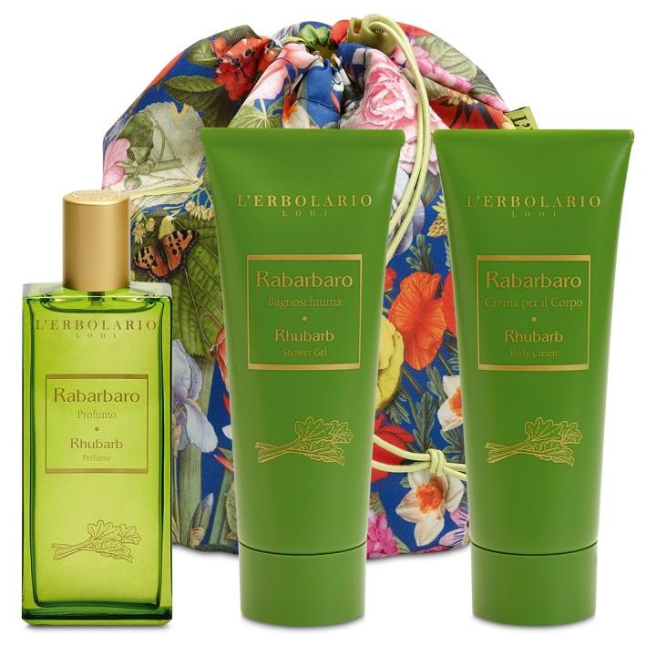 L'Erbolario Rabarbaro Beauty Bag TRIO - woda perfumowana, pianka do kąpieli, perfumowany krem do ciała