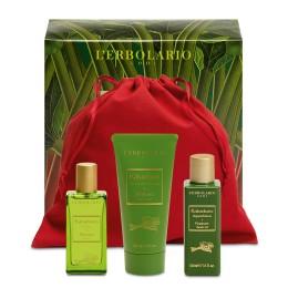 L'Erbolario Rabarbar beauty set - woda perfumowana 30 ml, pianka do kąpieli 50 ml, perfumowany krem do ciała 50 ml