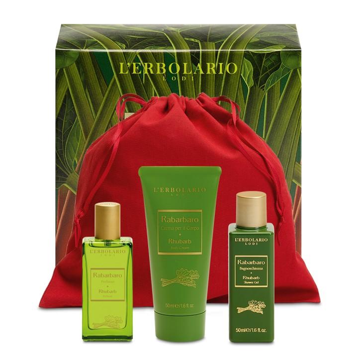 L'Erbolario Rabarbaro Beauty Set - woda perfumowana 30 ml, pianka do kąpieli 50 ml, perfumowany krem do ciała 50 ml